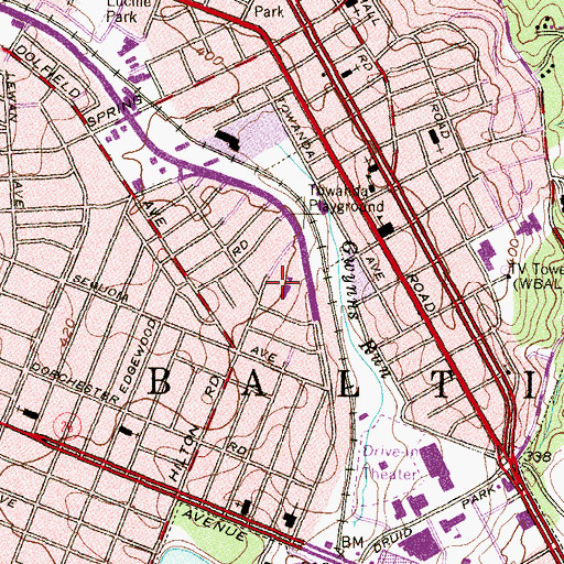 Topographic Map of Ashburton Elementary School, MD
