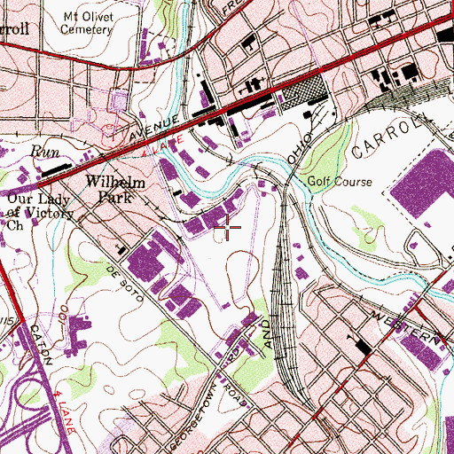 Topographic Map of Cross Roads Industrial Center, MD