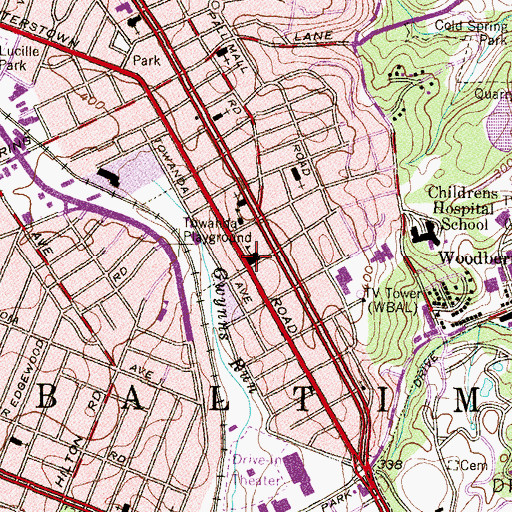Topographic Map of Louisa M Alcott Elementary School, MD