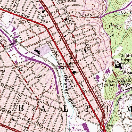 Topographic Map of Malcolm X Elementary School, MD