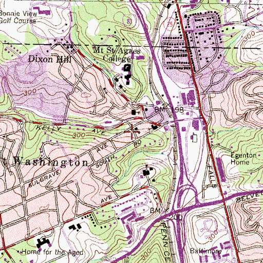 Topographic Map of The Mount Washington School, MD