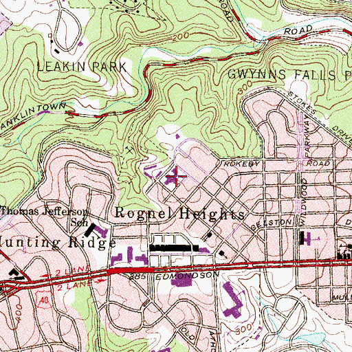 Topographic Map of Rognel Heights Elementary / Middle School, MD