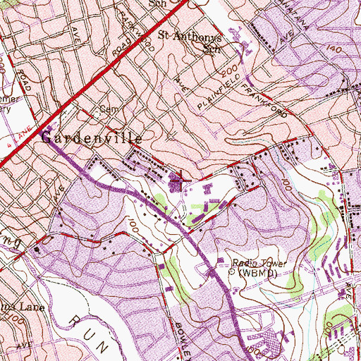 Topographic Map of Furley Elementary School, MD