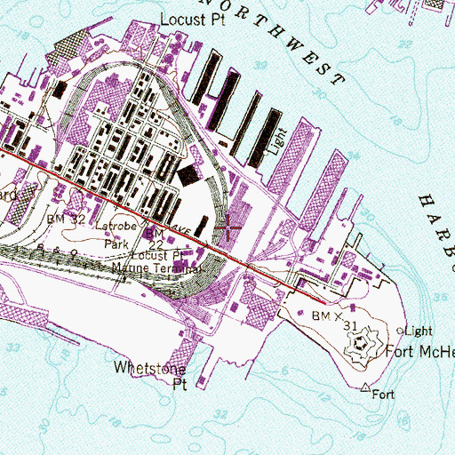 Topographic Map of Locust Point Yard, MD