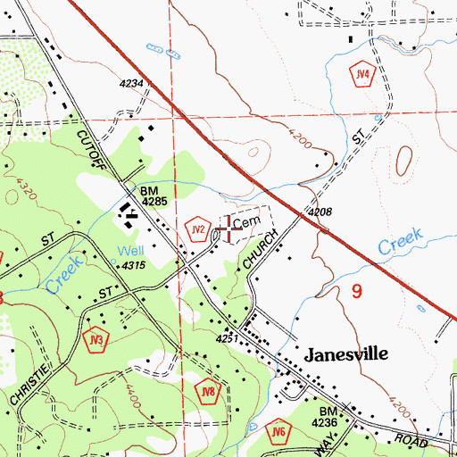 Topographic Map of Janesville Cemetery, CA