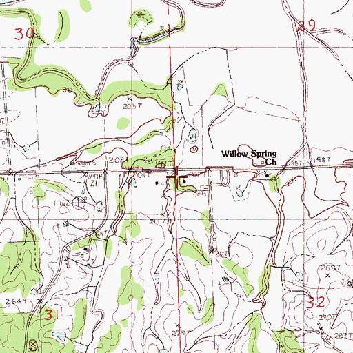 Topographic Map of Mount Pleasant School (historical), MS