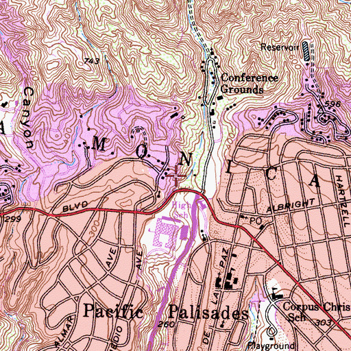 Topographic Map of Temescal Canyon Park, CA