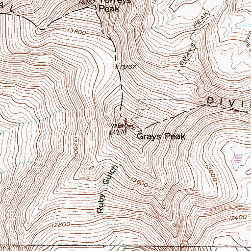 Topographic Map of Front Range, CO