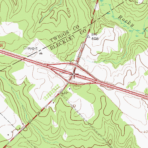 Topographic Map of Exit 10, GA