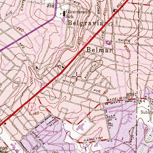 Topographic Map of Bellview, MD