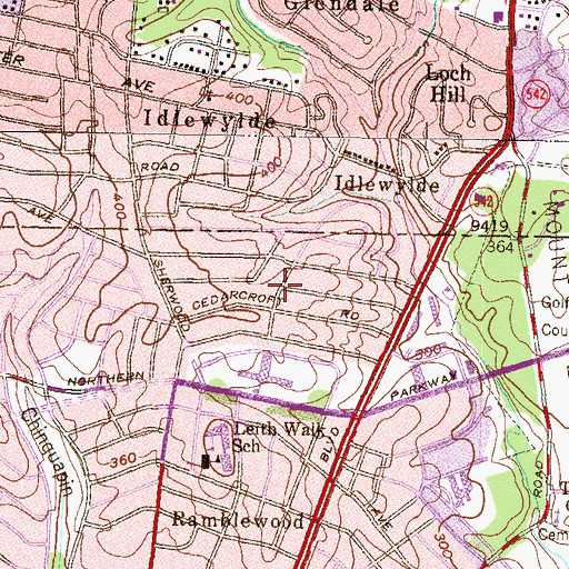 Topographic Map of Idlewood, MD