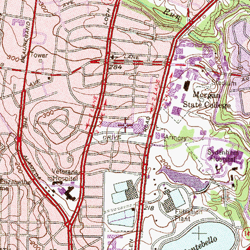 Topographic Map of Northwood Shopping Center, MD