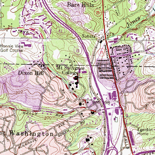 Topographic Map of Mount Saint Agnes Convent, MD