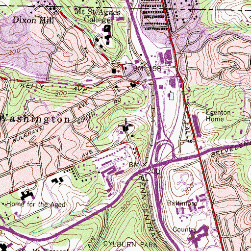 Topographic Map of Mount Washington Pediatric Hospital, MD