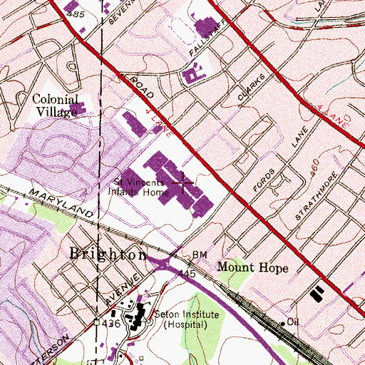Topographic Map of Reisterstown Road Plaza Shopping Center, MD