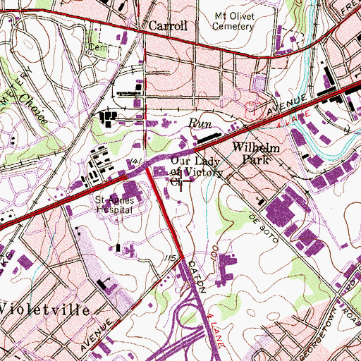 Topographic Map of Saint Marys Industrial School (historical), MD