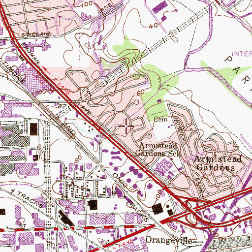 Topographic Map of Armistead Homes, MD