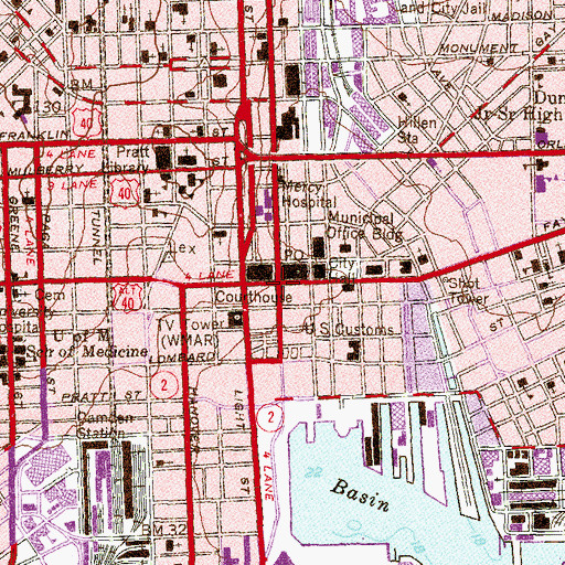 Topographic Map of Business and Government Historic District, MD