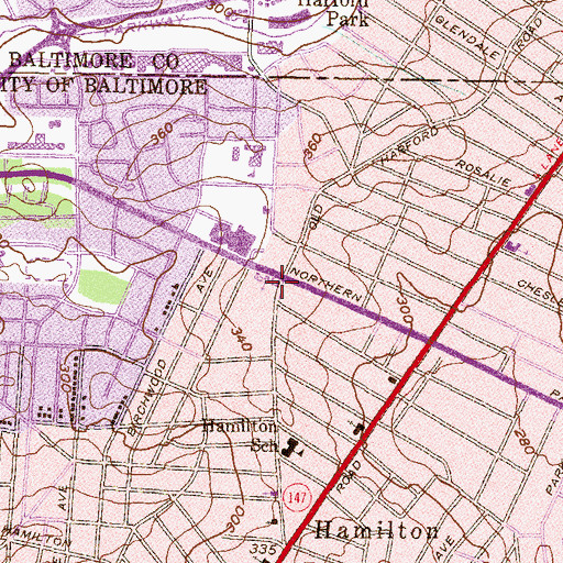 Topographic Map of Calvary Lutheran Church of Hamilton, MD