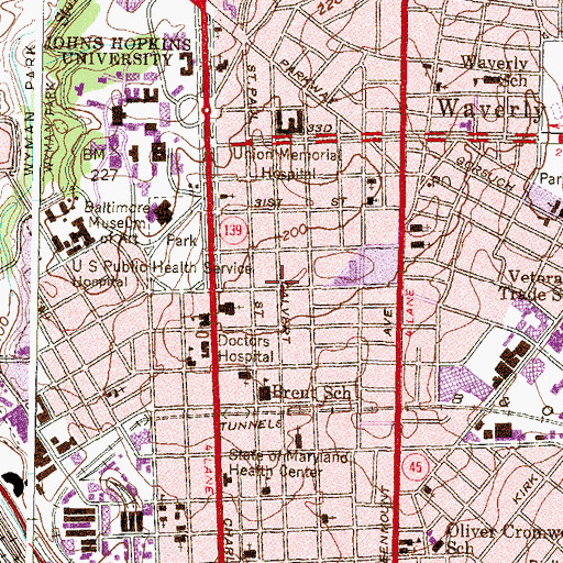 Topographic Map of Charles Village-Abell Historic District, MD