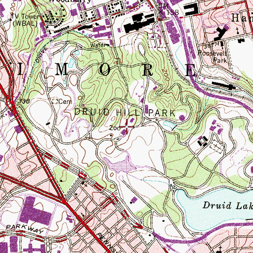 Topographic Map of Druid Hill Park Historic District, MD
