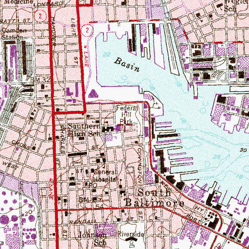 Topographic Map of Federal Hill Historic District, MD