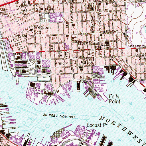 Topographic Map of Fells Point Historic District, MD