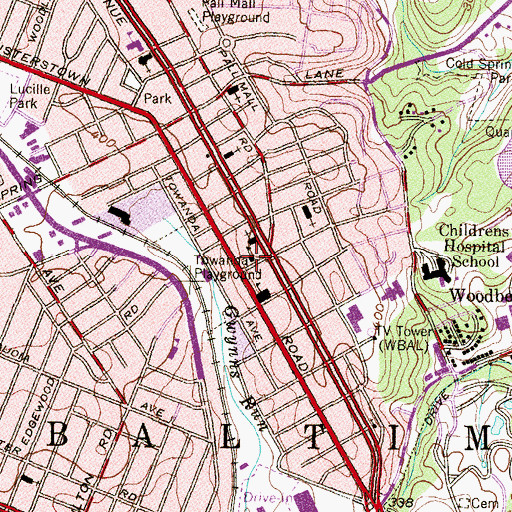 Topographic Map of Elementary School 59A, MD