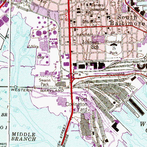 Topographic Map of Interchange 54, MD