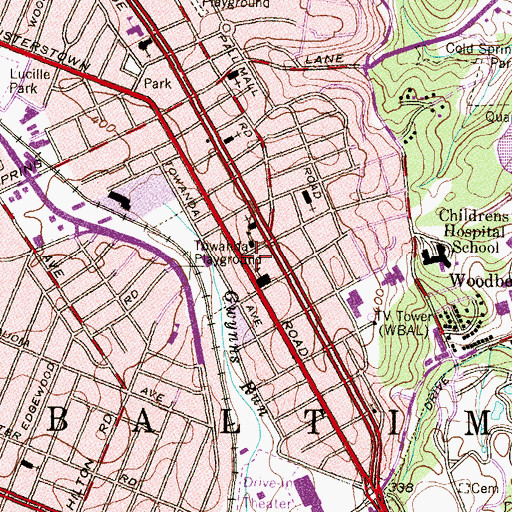 Topographic Map of Lower Park Heights Multi-Purpose Center, MD