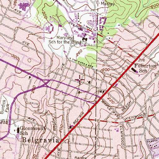 Topographic Map of Overlea United Methodist Church, MD