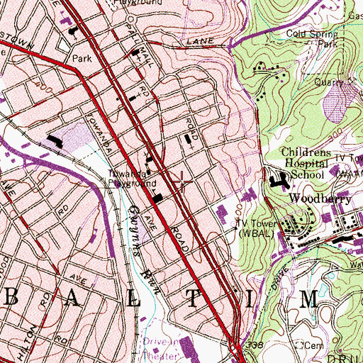 Topographic Map of Park Heights Avenue Academy, MD