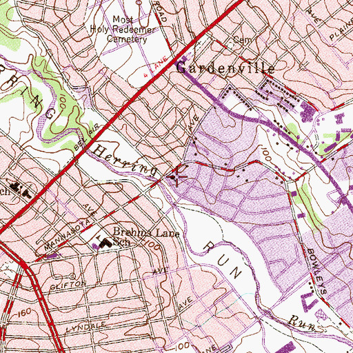 Topographic Map of Parkside Methodist Church, MD