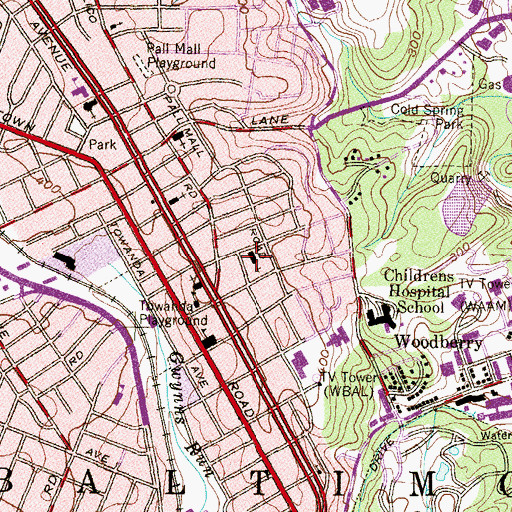 Topographic Map of United Bible Way Church, MD
