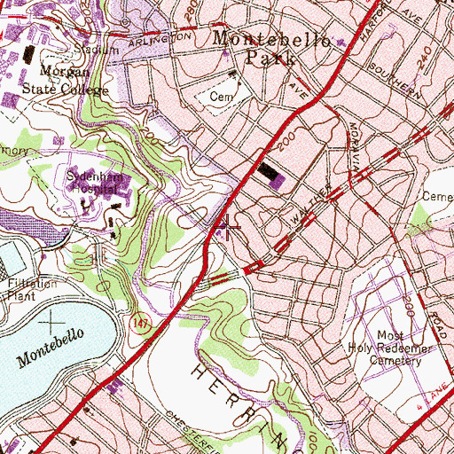 Topographic Map of Zion Church of Christ, MD