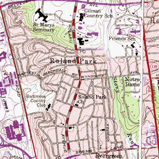 Topographic Map of Homewood School, MD