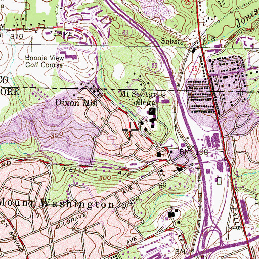 Topographic Map of Mount Washington Presbyterian Church, MD