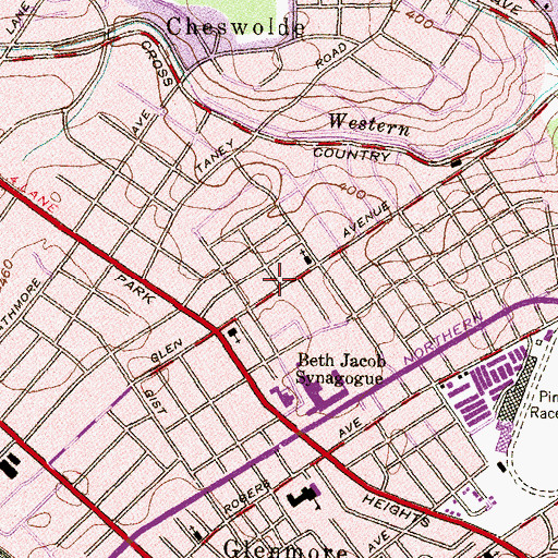 Topographic Map of Ohel Yakov Synagogue, MD
