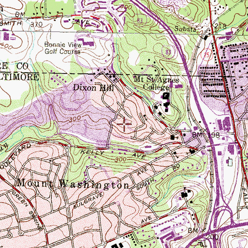 Topographic Map of School of the Chimes, MD