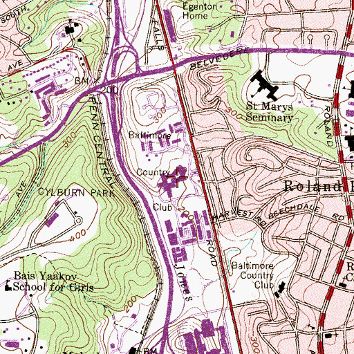 Topographic Map of Village Square of Cross Keys Shopping Center, MD