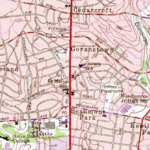 Topographic Map of Gregory Memorial Baptist Church, MD