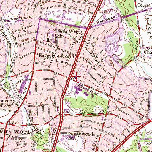 Topographic Map of Immanuel Lutheran Church, MD