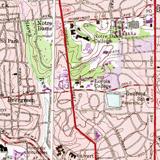 Topographic Map of Memorial Chapel of Our Lady, MD