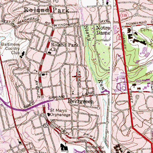 Topographic Map of Roland Avenue-Evergreen United Methodist Church, MD