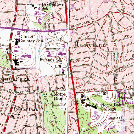 Topographic Map of Stony Run Friends Meeting House, MD