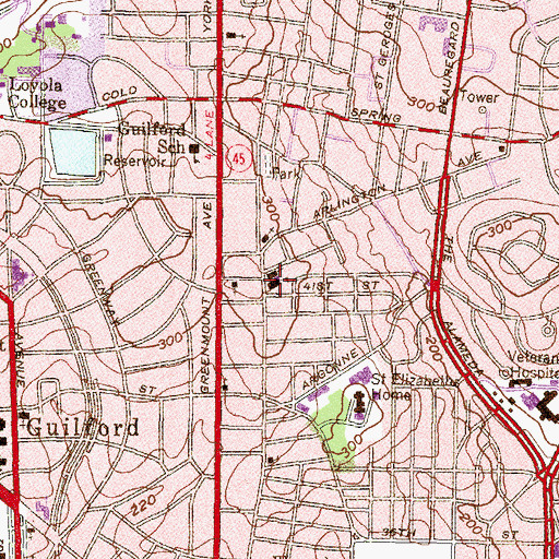 Topographic Map of Blessed Sacrament School, MD