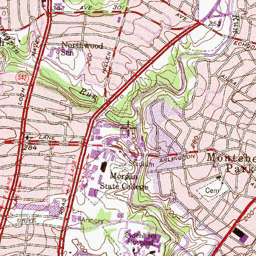 Topographic Map of Calloway Hall, MD