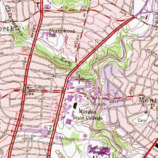 Topographic Map of Holmes Hall, MD