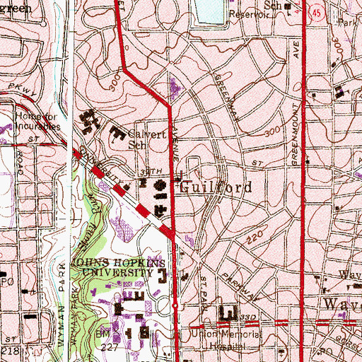Topographic Map of First English Evangelical Lutheran Church, MD