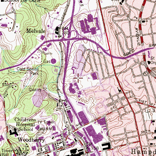 Topographic Map of Medfield Heights Recreation Center, MD